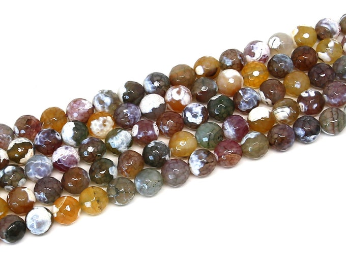 Fire Agate Beads | Multi Color | Faceted Round Natural Gemstone Loose Beads | Sold by Strand | 10mm