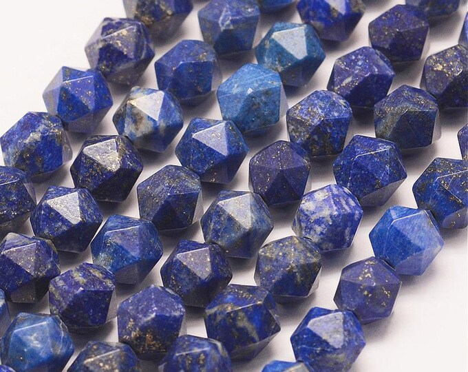 Lapis Lazuli Beads | Grade A | Polygon Natural Gemstone Loose Beads | Sold by Strand | Size 7.5-8mm