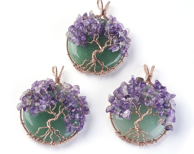 Tree of Life Gemstone Pendant | Green Aventurine and Purple Amethyst | Chakra Healing Pendant | Sold by Piece | Size 58~61.5x44~48x14~16.5mm