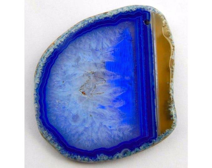 Unique Blue Druzy Geode Agate Freeform Plate Pendant Focal Bead 66x57x7mm