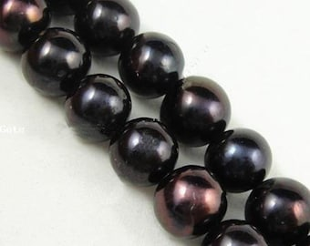 Natural Black Pearl Beads   Grade A   Cultured Freshwater Pearls   Round Beads   Sold by 15 Inch Strand   Size 9-10mm   Hole 1mm