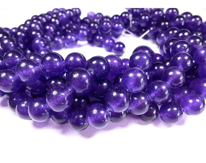 Purple Jade Beads 4mm 6mm 8mm 10mm Round Natural Gemstone Loose Dyed 15.5 inch Full Strand Wholesale