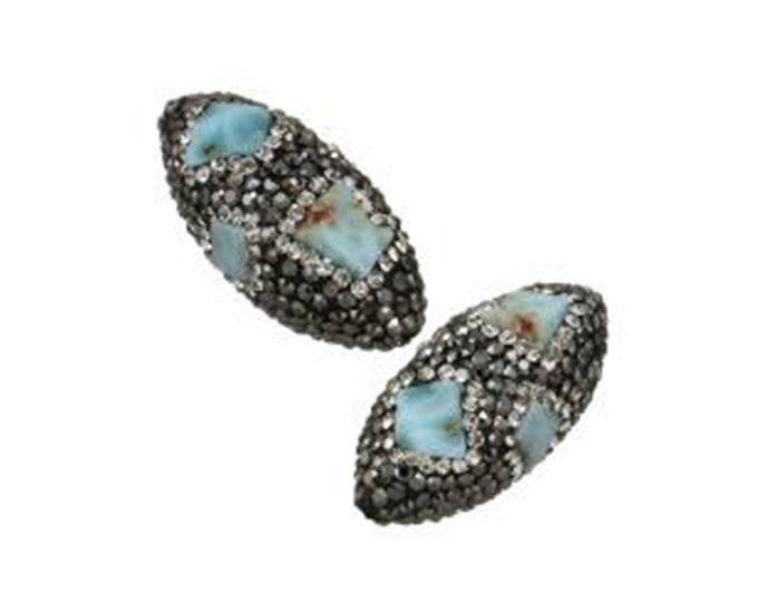 Natural Larimar Rhinestone Clay Pave Bead | Large Gemstone Loose Bead | Sold Individually | Size 27x39x17mm | Hole 1.5mm