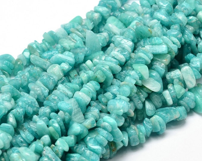 Blue Amazonite Chips Beads | Grade A | Natural Gemstone Loose Beads | Sold by 15 Inch Strand | Size 5~14x4~10mm