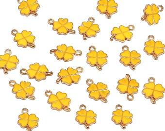 Clover Charms | St. Patrick's Day | Bracelet Charm | Gold Brass | Sold by Lot 5 Pcs | Size 19x12.5x1.5mm
