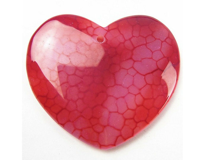 Red Dragon Veins Agate Heart Pendant Focal Bead 43x38x6mm V32373