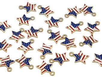 5 Pcs American Flag Star Zinc Alloy Enamel Pendant Charm DIY ENAM-Q033-54
