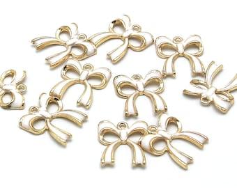 Bowknot Charms | White Gold Bowknot | Bracelet Charm | Gold Brass | Sold by Lot 5 Pcs | Size 19.5x17.5x3mm