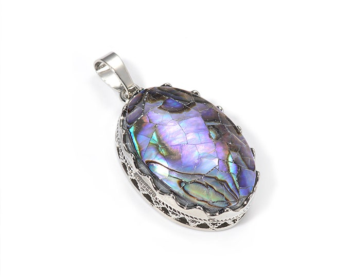 Abalone Shell Oval Cabochon Brass Pendant | Natural Gemstone Focal Bead Pendant | Sold Individually | Size 20x30mm