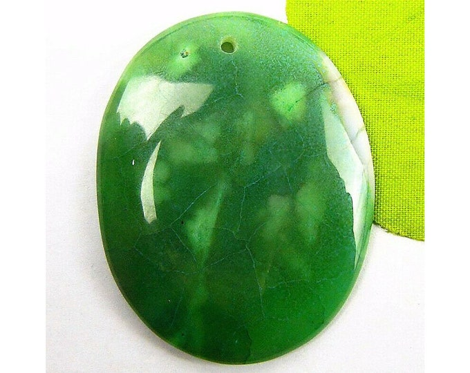 Green Agate Oval Gemstone Pendant Focal Bead 47x37x6mm B83430