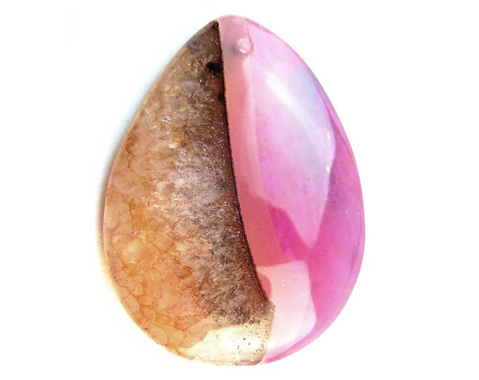 Orange Pink Druzy Geode Agate Teardrop Pendant Focal Bead 51x39x7mm V09845