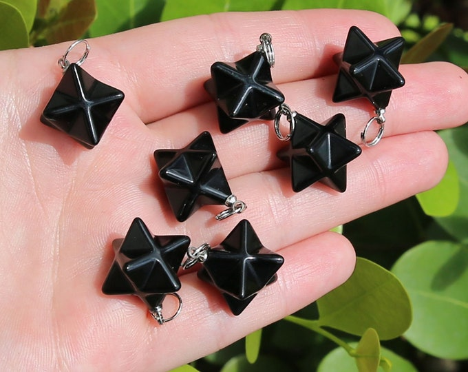 Black Agate Beads | Merkaba Pendant | 3D Star | Charka Healing Polygonal Focal | Natural Gemstone Pendant | Sold by Piece | Size 13x20mm