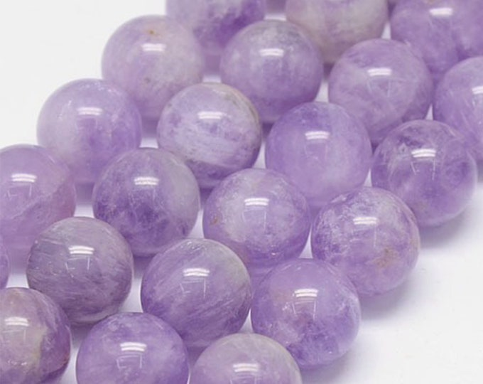 Amethyst Beads | Lavender Purple | Round Natural Gemstone Beads | Sold by 7 inch Strand | Size 12mm