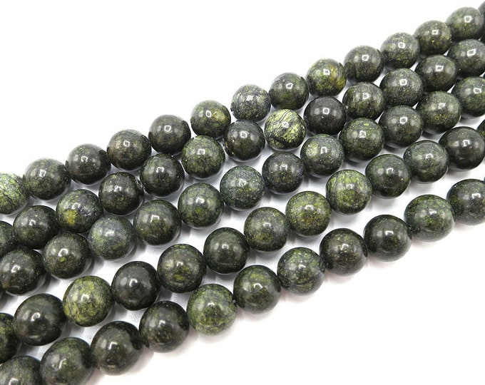 8mm Russian Serpentine Beads Round Polished Natural Gemstone Loose 15'' Full Strand Wholesale