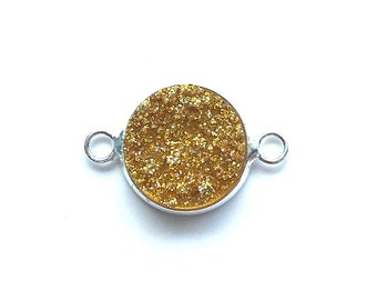 5 Pieces Silver Plated Yellow Glitter Faux Resin Druzy Agate Bezel Connector 20x12mm