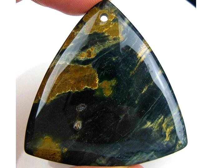 Natural Green Ocean Agate Triangle Gemstone Pendant Focal Bead 45x44x6mm V99511