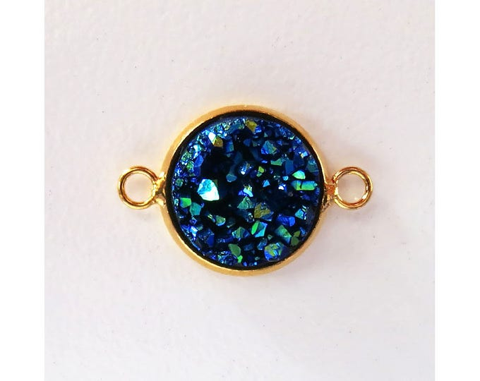 Druzy Agate Connector | Gold Plated Brass | Metallic Blue Faux Druzy Connector | Sold by Pair | Size 20x12mm