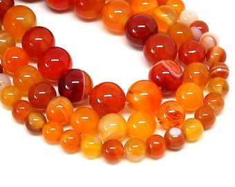 Orange Stripe Agate Beads | Round Natural Gemstone Beads | Sold by 15 Inch Strand | Size 4mm 6mm 8mm 10mm 12mm 14mm