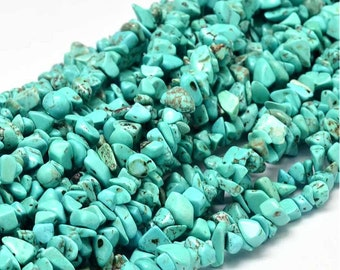 Blue Turquoise Chips Beads | Natural Gemstone Beads | Sold by 33 Inch Strand | Size 5~8mm | Hole 0.5mm