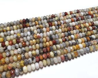 5x8mm Crazy Agate Dyed Faceted Rondelle Beads Gemstone Loose 15'' Full Strand
