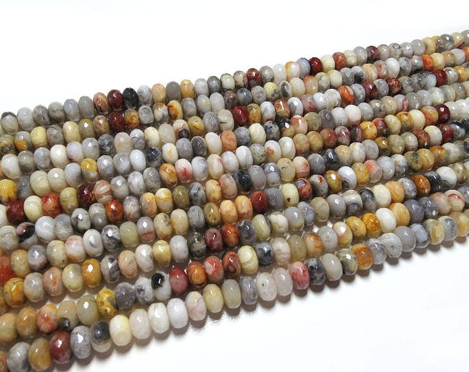 Crazy Lace Agate Rondelle Beads | Grade A | Natural Gemstone Loose Beads | Sold by 15 Inch Strand | Size 5x8mm | Hole 1mm