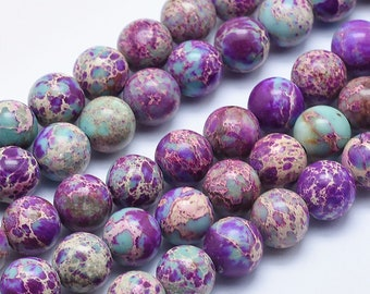 Galaxy Sea Sediment Jasper | Round Natural Gemstone Beads | Sold by 15 Inch Strand | Size 4mm 6mm 8mm 10mm