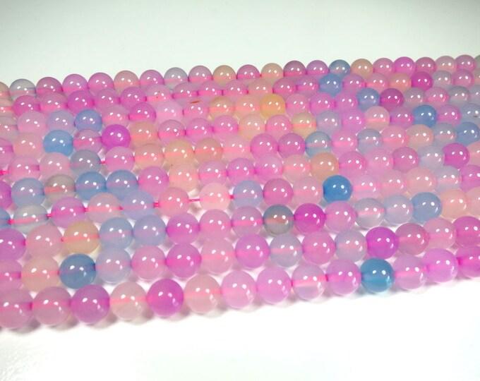 "8mm Morganite Beads Round Polished Natural Dyed Gemstone Loose 15.5"" Full Strand Wholesale"