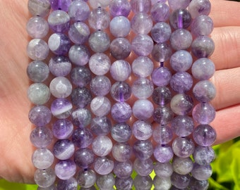 Amethyst Beads | Round Natural Gemstone Beads | Sold by 15 Inch Strand | Size 6mm 8mm