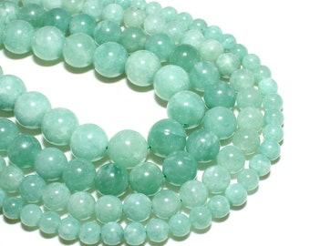 80006200-M34 8mm New Jade Gemstone Grade AAA Green Round Loose Beads 15 inch Full Strand