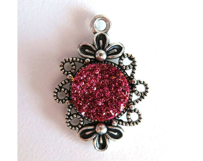 2 Pieces Antique Silver Plated Rose Red Glitter Faux Druzy Agate Bezel Charm Flower Pendant