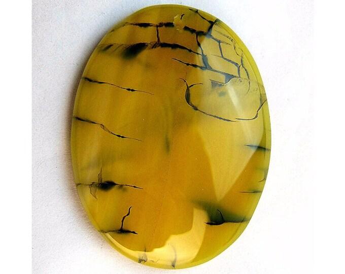 Yellow Dragon Veins Agate Oval Gemstone Pendant Focal Bead 48x37x7mm B29931