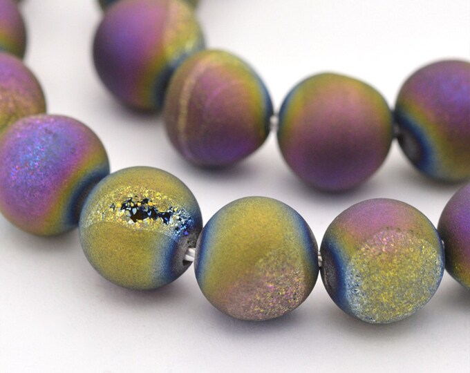 Druzy Agate Beads | Matte Purple Metallic | Round Natural Gemstone Loose Beads | Sold by Strand | Size 8mm