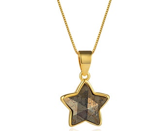 Faceted Pyrite Star Pendant Necklace   18K Gold Plated Brass Chain   Lobster Clasp   Chain Length 18 Inch   Pendant Size 12mm