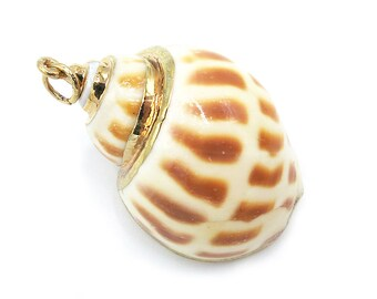 1 Piece Gold Plated Natural Sea Shell Trumpet Conch Pendant Bead 40x28x22mm