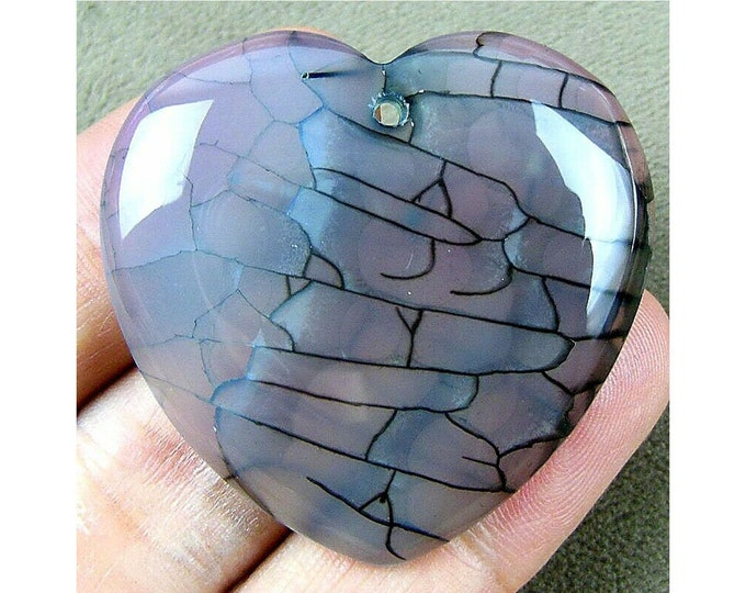 Gray Orange Dragon Veins Agate Heart Pendant Focal Bead 41x40x6mm B83236