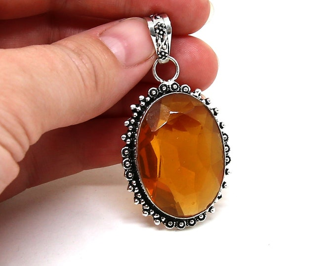 Natural Faceted Citrine Gemstone Vintage Style 925 Sterling Silver Pendant Focal Bead Size 2.5 inch
