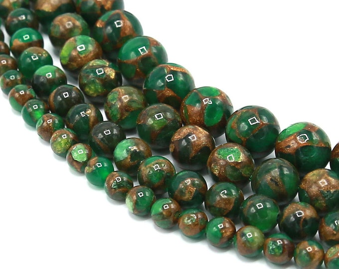 Green Goldstone Beads 6mm 8mm 10mm 12mm Sandstone Round Polished Gemstone Synthetic Full Strand 15.5 inch Wholesale