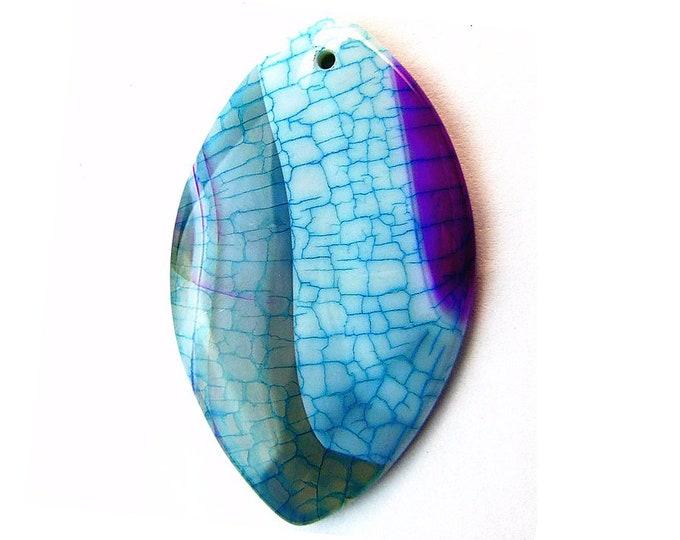 Purple Blue Dragon Veins Agate Horse Eye Gemstone Pendant Focal Bead 50x31x5mm B29926
