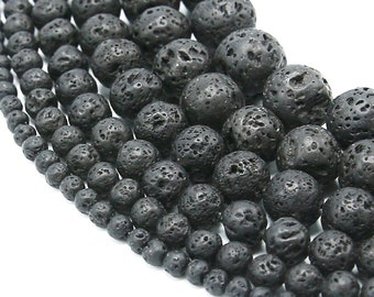 Natural Lava Beads | Black Volcanic Rock Beads | Mala Beads | Natural Round Gemstone Beads | Sold by Strand | 4mm 6mm 8mm 10mm 12mm 14mm