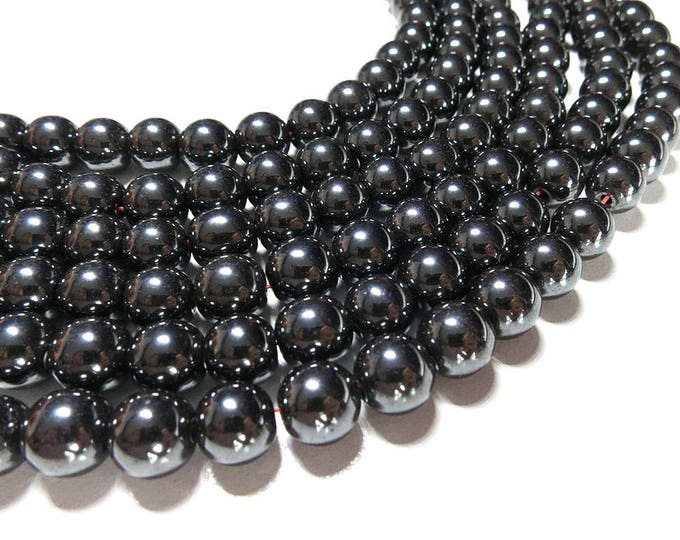 Hematite Beads | Non Magnetic | Round Natural Gemstone Loose Beads | Sold by Strand | Size 4mm 6mm 8mm 10mm 12mm