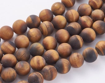 Matte Tiger Eye Beads   Round Natural Gemstone Beads   Sold by 15 Inch Strand   Size 4mm 6mm 8mm 10mm