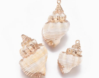 Natural Sea Shell Pendant | 18K Gold Plated Spiral Conch Shell | Sold Individually | Size 29~36x18~25mm