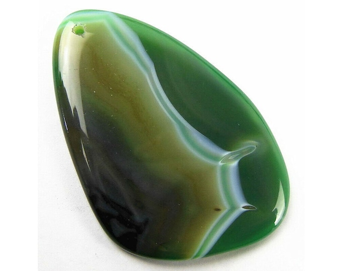 Green Stripes Agate Freeform Pendant Focal Bead 61x40x6mm V32384