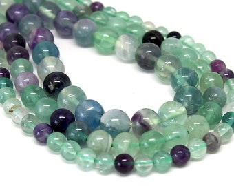"""Multicolor Fluorite Beads 6mm 8mm 10mm Round Polished Natural Gemstone Loose 15.5"""" Full Strand Wholesale"""