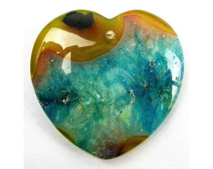 Unique Brown Blue Druzy Geode Agate Heart Pendant Focal Bead 40x40x8mm V32420