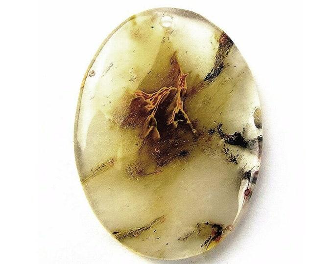 Clear Cherry Quartz Oval Gemstone Pendant Focal Bead 46x34x7mm B83223