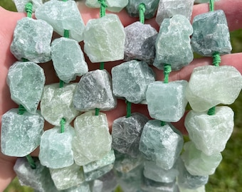 Chunky Natural Rainbow Fluorite Nuggets Beads | Drilled Raw Natural Gemstone Loose Beads | Sold by 7 Inch Strand | Size 20-30mm