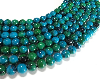 Chrysocolla Beads | Round Synthetic Gemstone Beads | Sold by 15 Inch Strand | Size 4mm 6mm 8mm 10mm 12mm 14mm