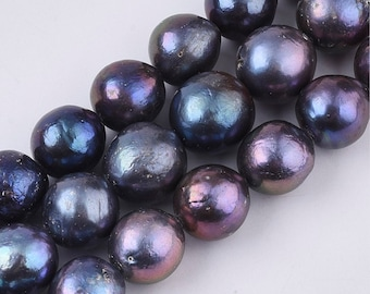 Natural Baroque Keshi Pearl Beads | Grade A | Round Cultured Freshwater Pearls | Sold by 7 Inch Strand | Size 13~14mm | Hole 0.6mm