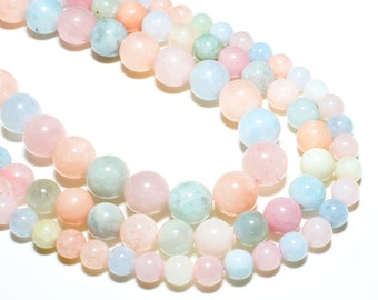 Natural Morganite Beads   Grade AAA   Round Gemstone Loose Beads   Sold by 7 Inch Strand   Size 6mm 8mm 10mm